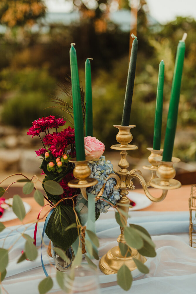 River School Farm Wedding, eclectic candle set-up photo