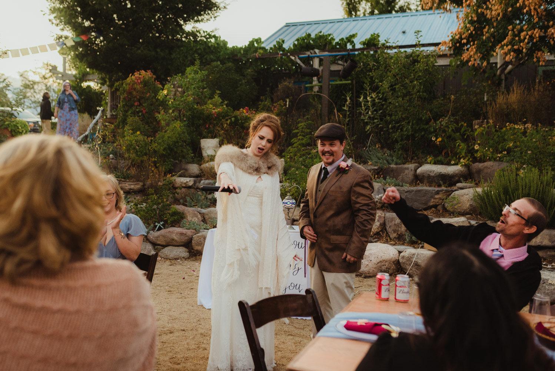 River School Farm Wedding, mic drop by bride photo