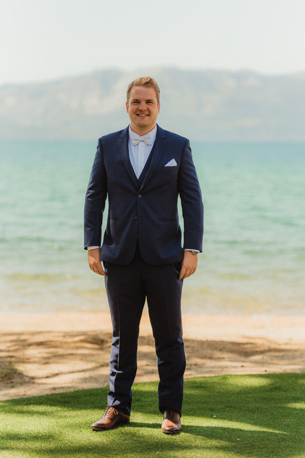 Edgewood Tahoe Wedding, photo of groom before his first look