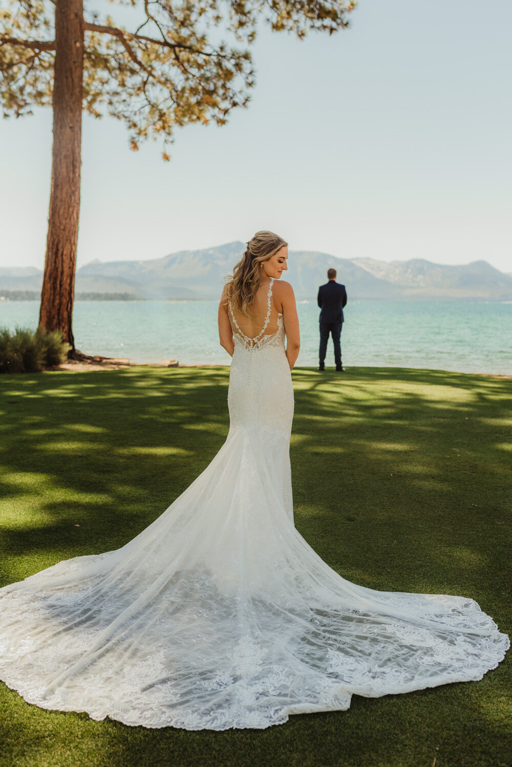 Edgewood Tahoe Wedding, photo of bride with a long train