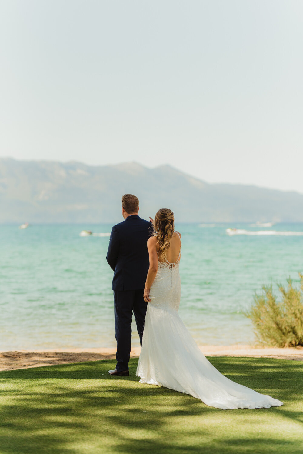 Edgewood Tahoe Wedding, first look photo