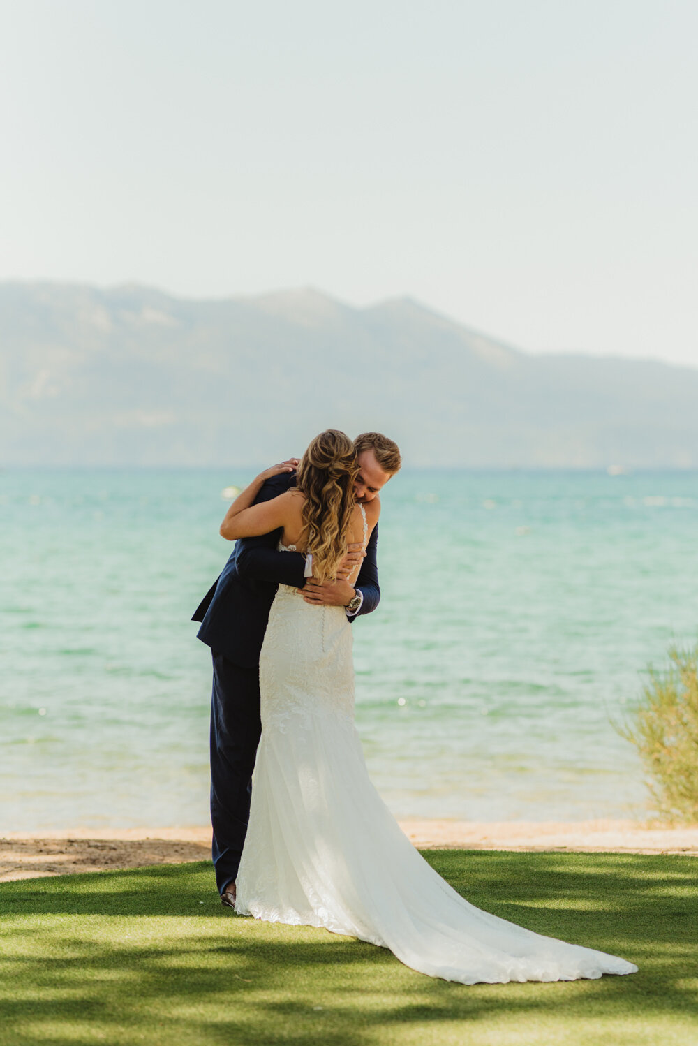 Edgewood Tahoe Wedding, photo of couple hugging after their first look