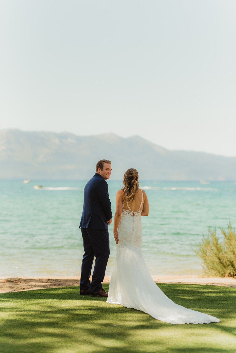Edgewood Tahoe Wedding, photo of groom seeing his bride