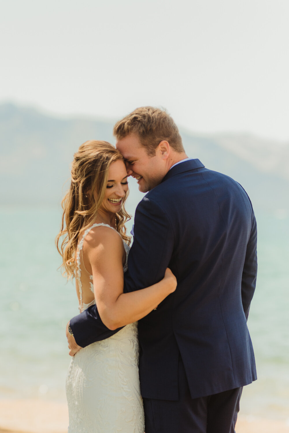 Edgewood Tahoe Wedding, close up photo of bride and groom