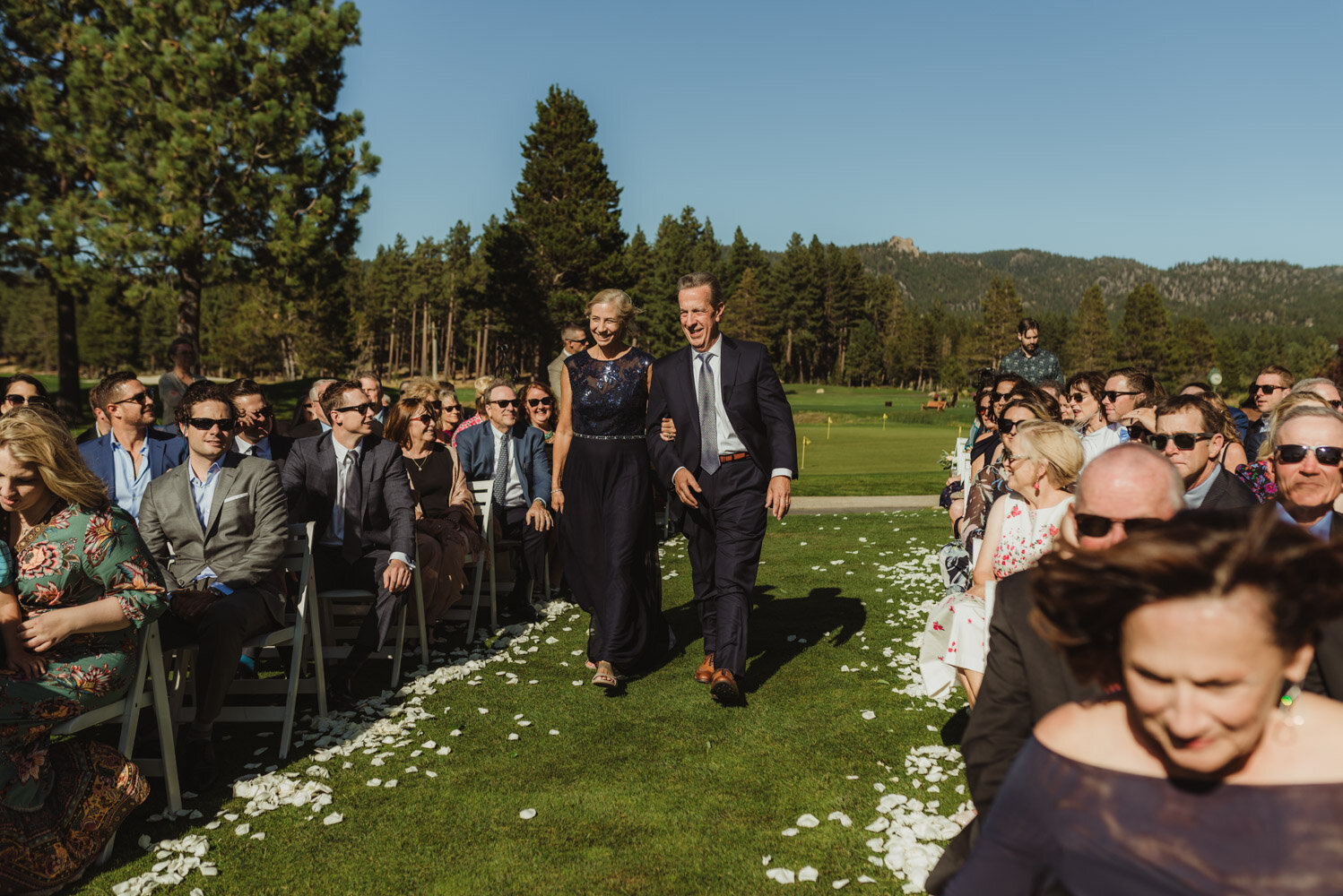 Edgewood Tahoe Wedding, photo of brides parents walking down the aisle