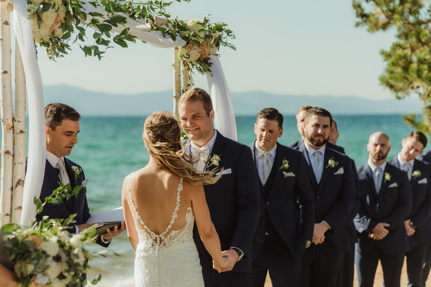 Edgewood Tahoe Wedding, photo of groom during the ceremony