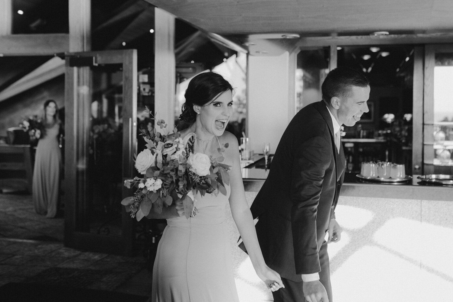 Edgewood Tahoe Wedding, photo of bridesmaid doing a grand entrance