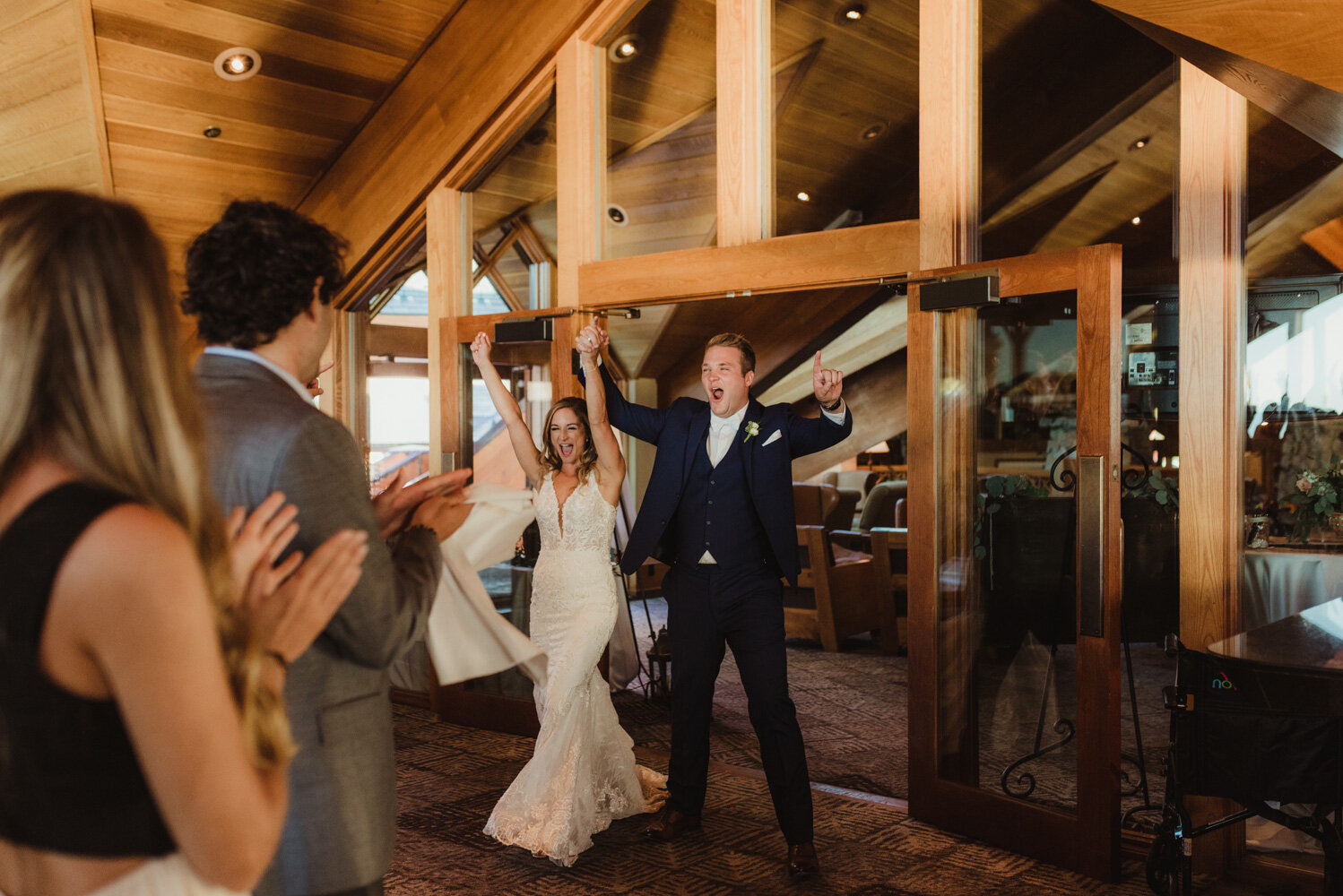 Edgewood Tahoe Wedding, photo of couple entering the venue
