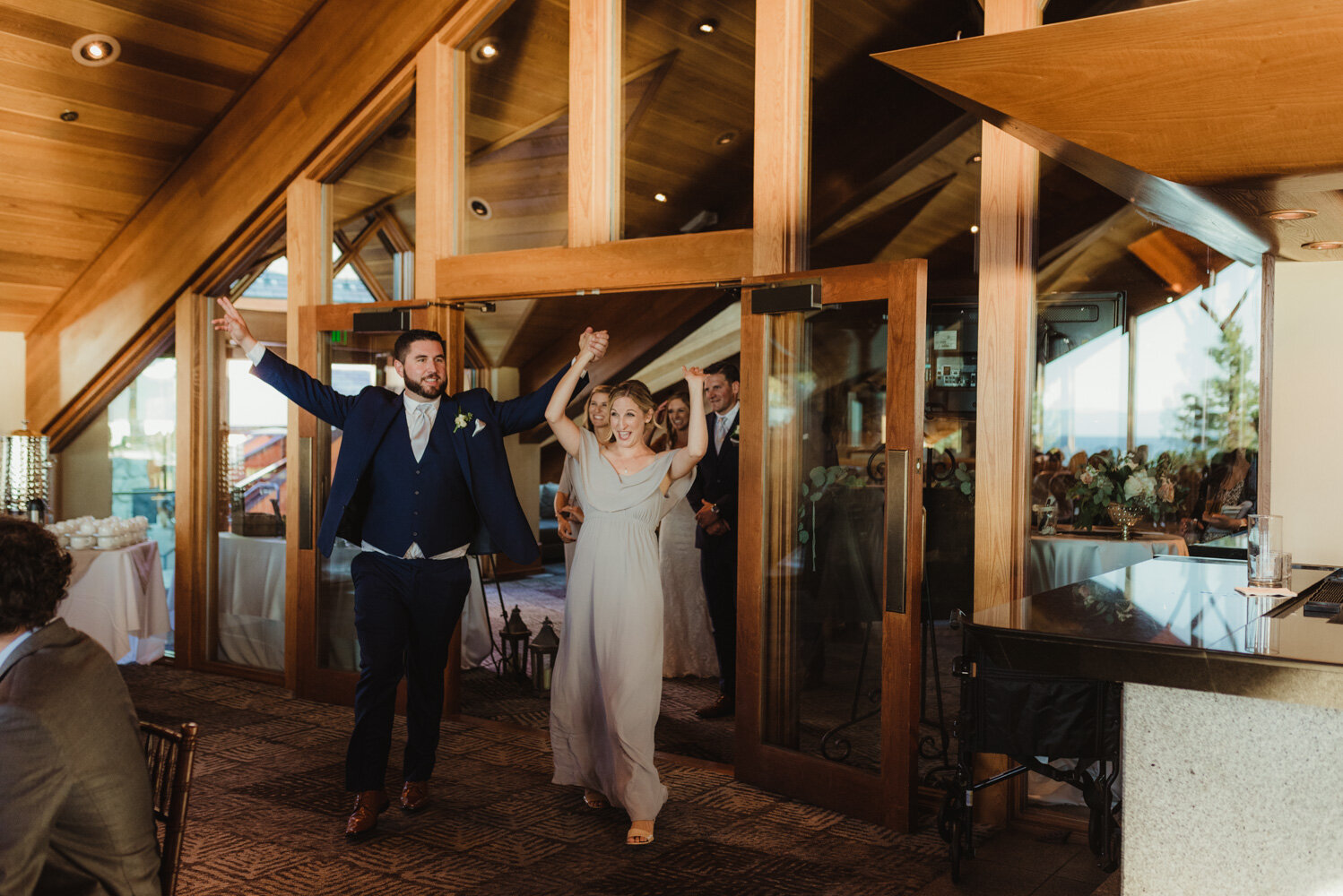 Edgewood Tahoe Wedding, photo of a couple entering the venue