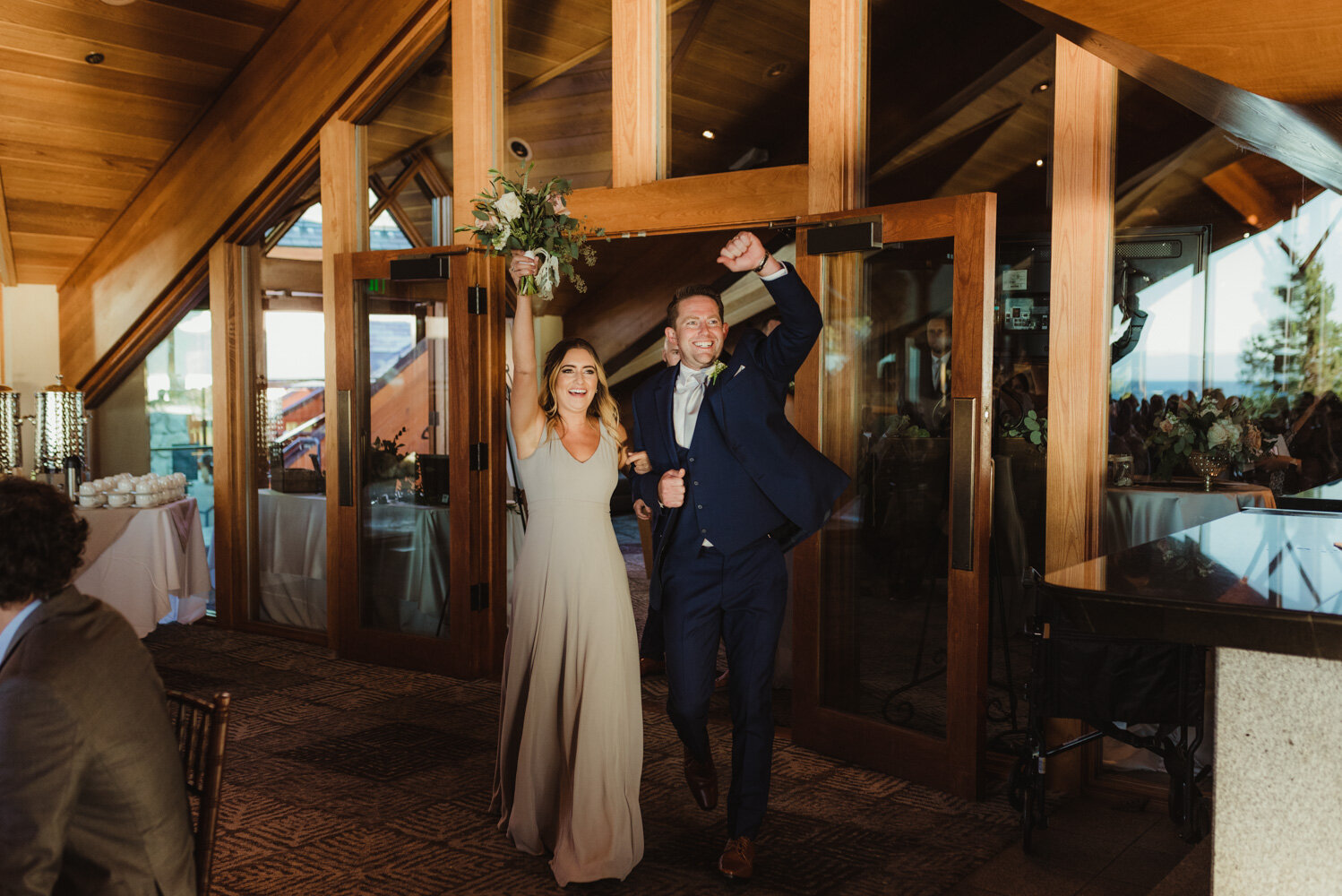 Edgewood Tahoe Wedding, grand entrance photo of bridal party