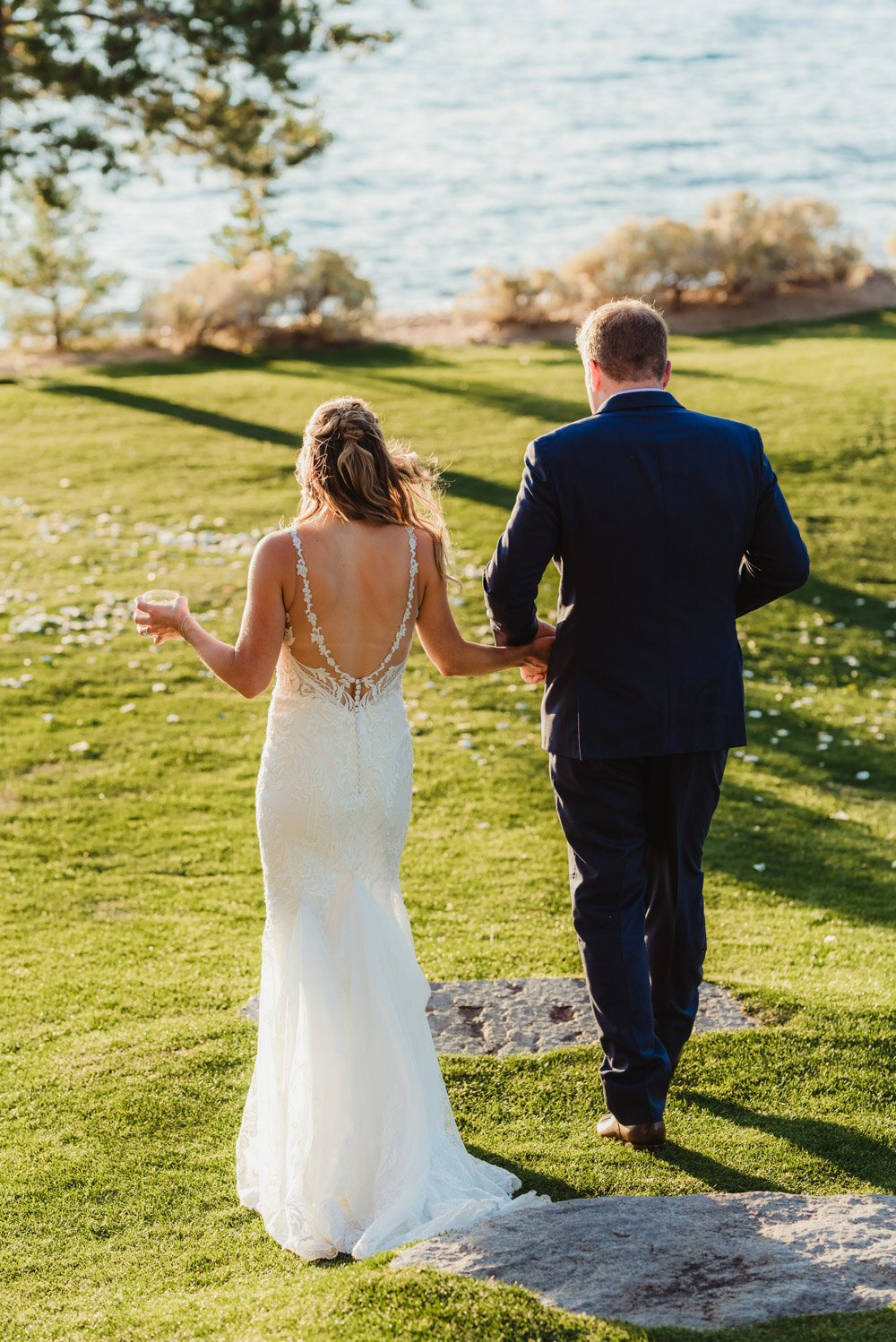 Edgewood Wedding, couple walking away photo