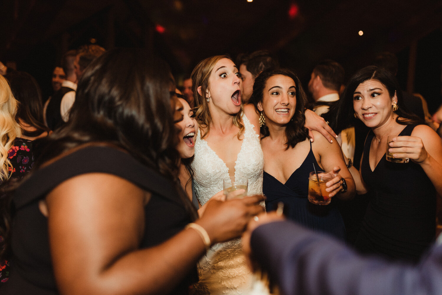 Edgewood wedding, photo of bride having a blast