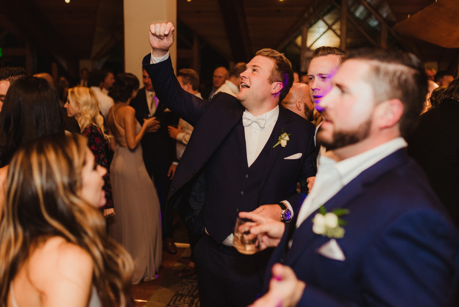 Edgewood wedding, photo of groom partying hard