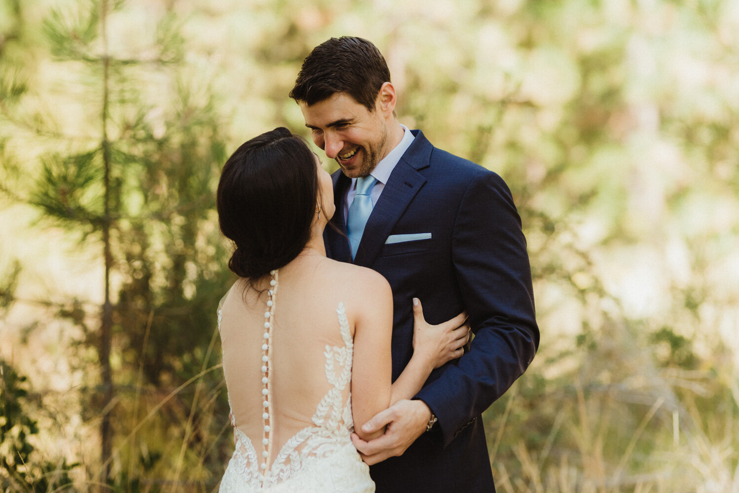 The Chateau Incline Village Wedding, photo of groom to be smiling at his bride to be