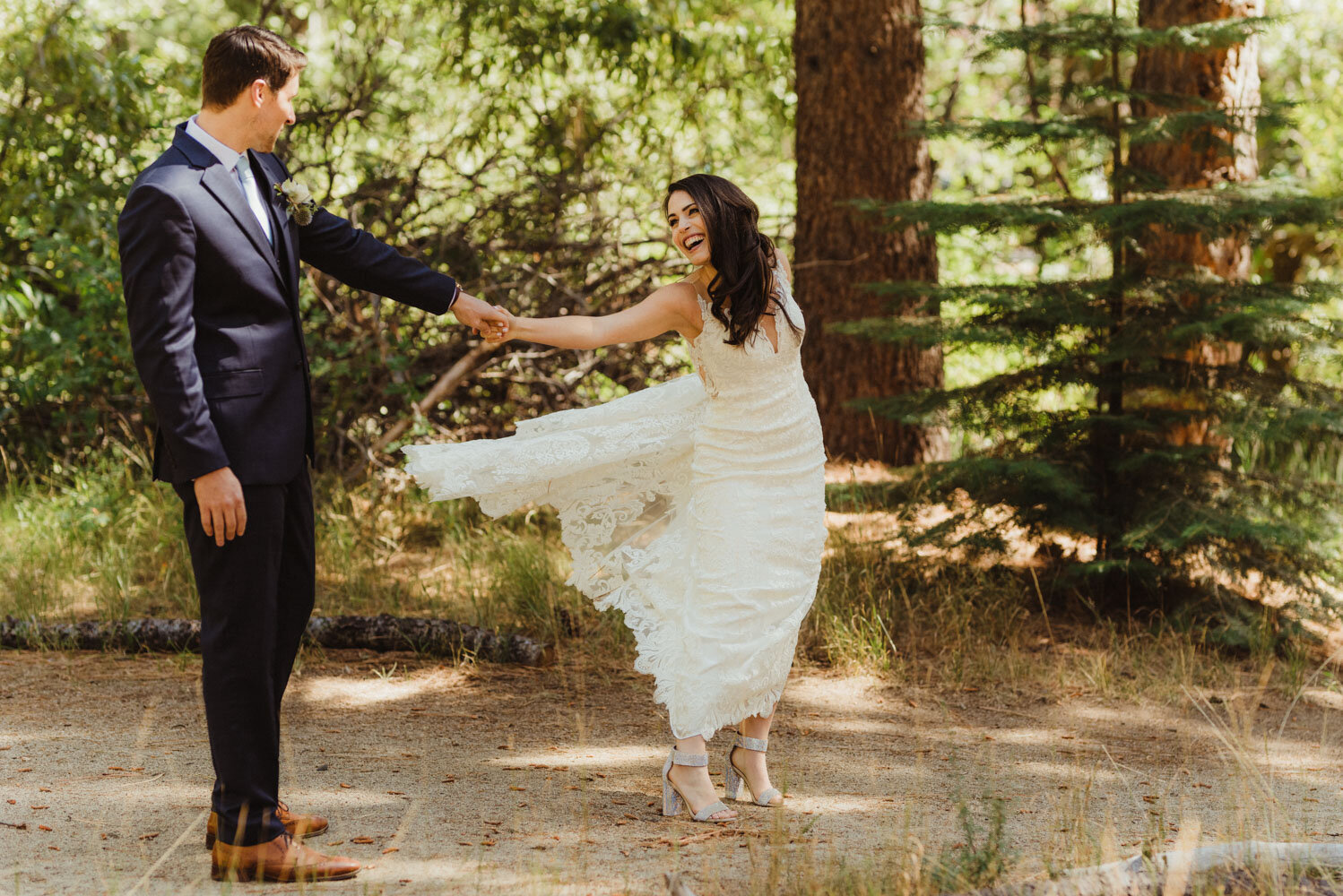 The Chateau Incline Village Wedding, couple dancing in the forest