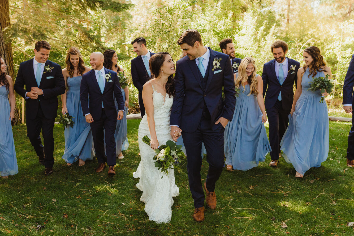 The Chateau Incline Village Wedding, bridal party photo with everyone in blue
