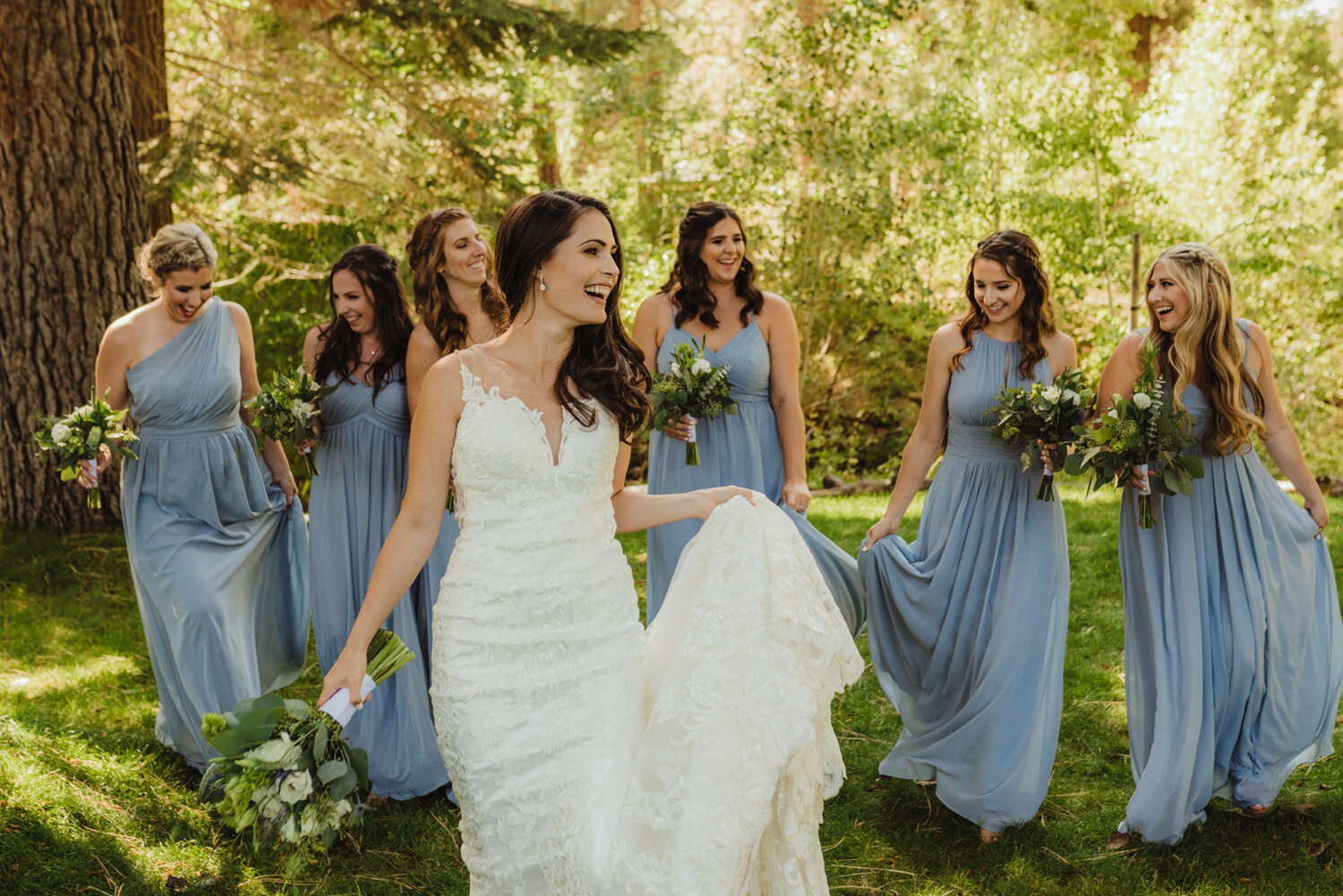 The Chateau Incline Village Wedding, photo of bride and bridesmaids in blue dresses
