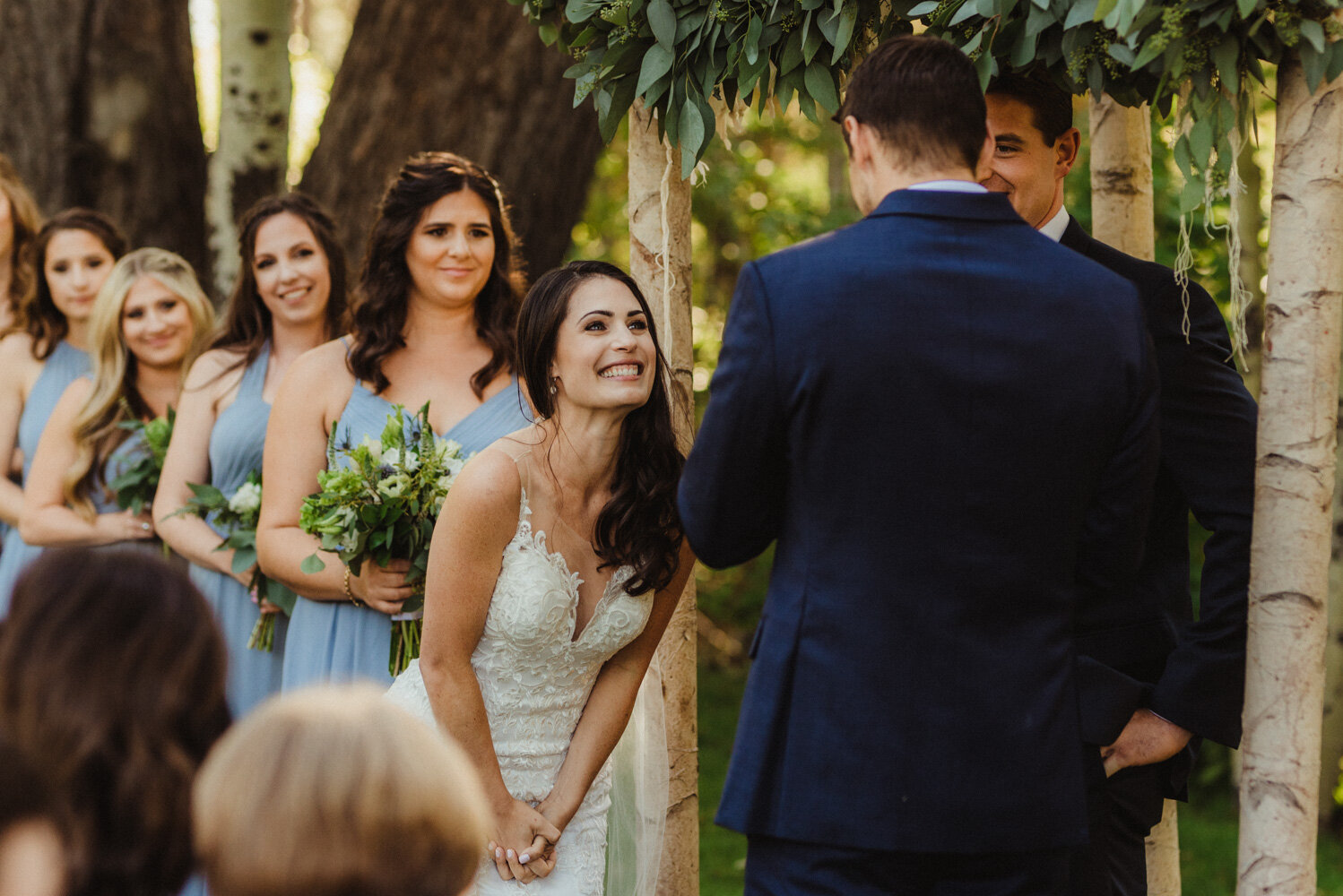 The Chateau Incline Village Wedding, photo of bride smiling during the ceremony