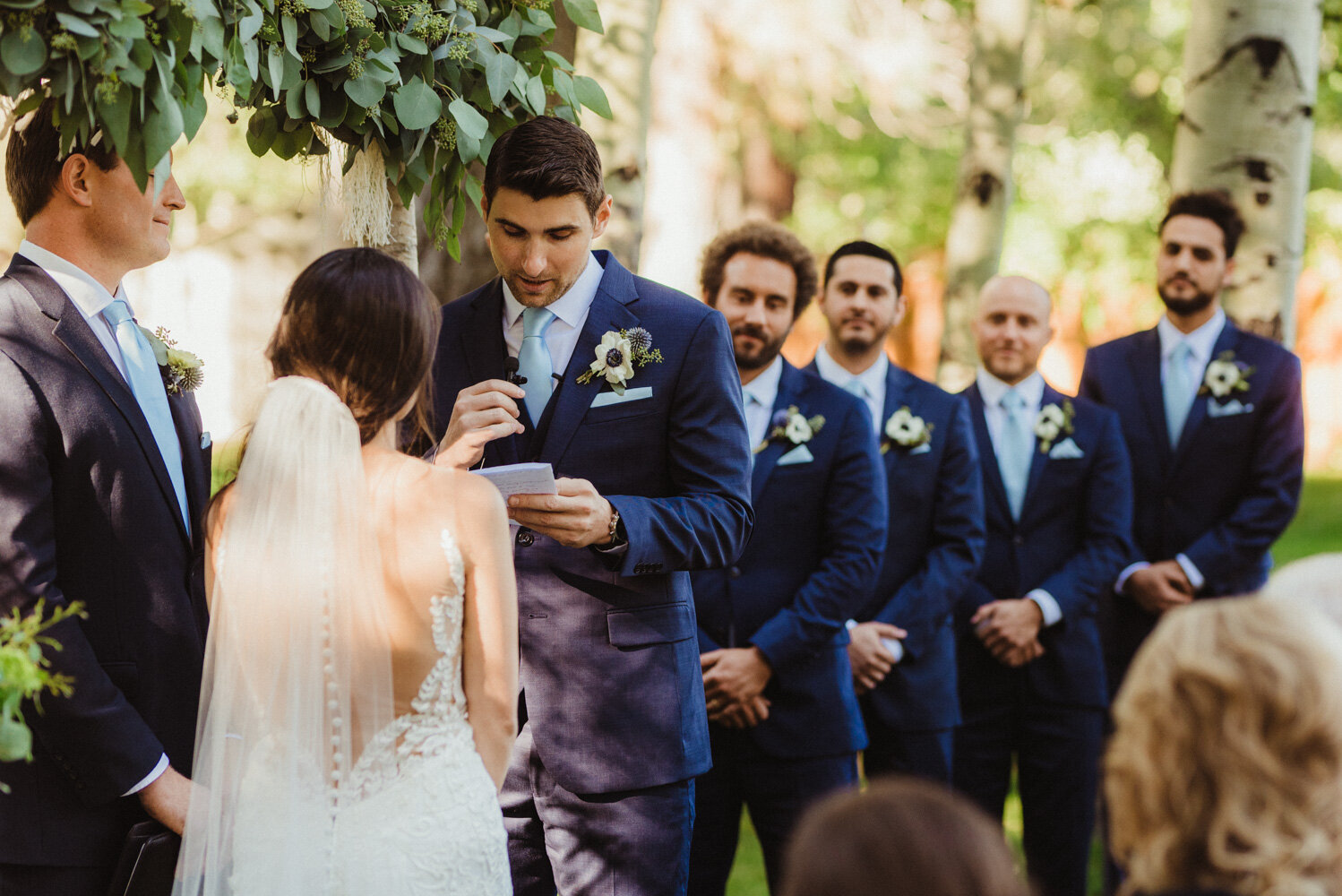 The Chateau Incline Village Wedding, photo of groom reading his vows photo