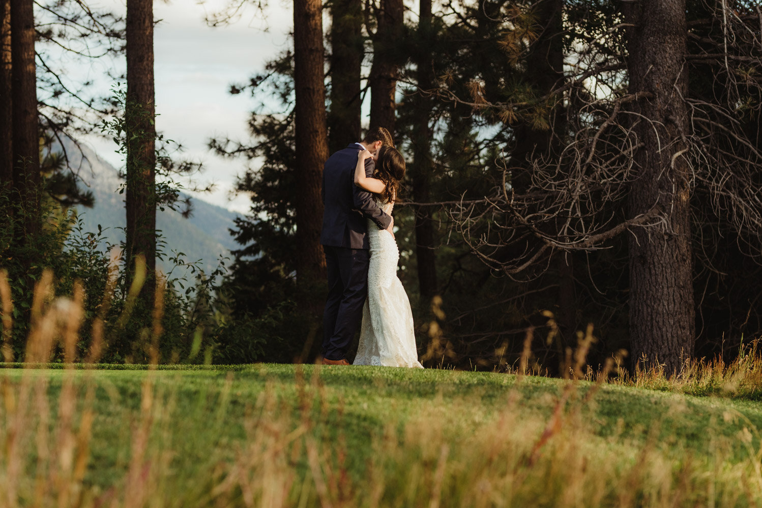 The Chateau Incline Village Wedding, jewish wedding photographer, photo of couple with a mountain in the background