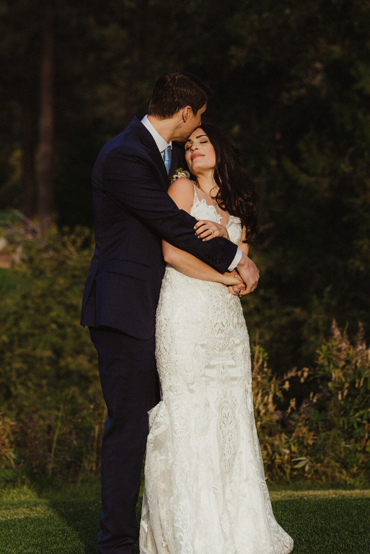 jewish wedding photographer in lake tahoe, couple hugging photo