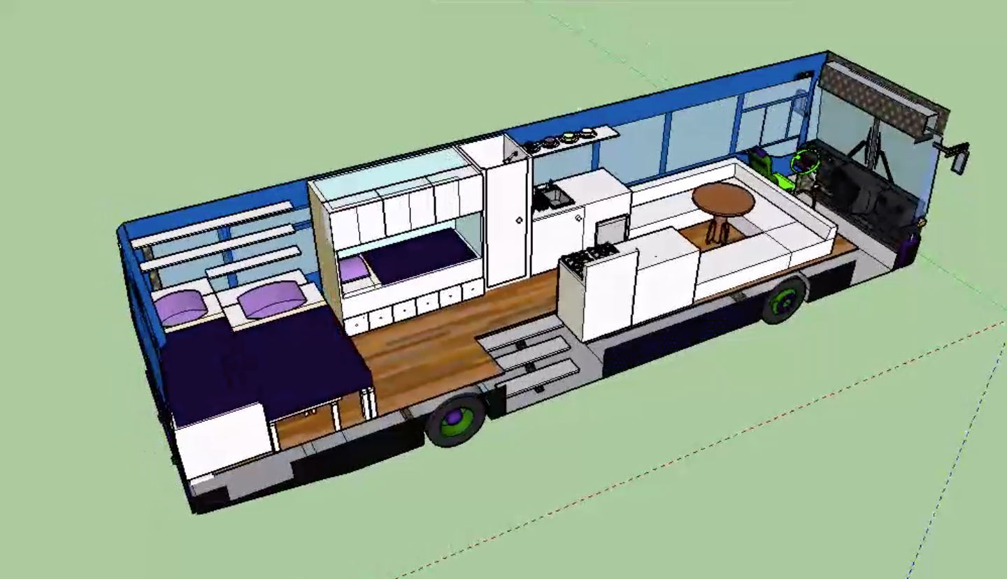 Design schematics for Constance's mobile tiny house renovation
