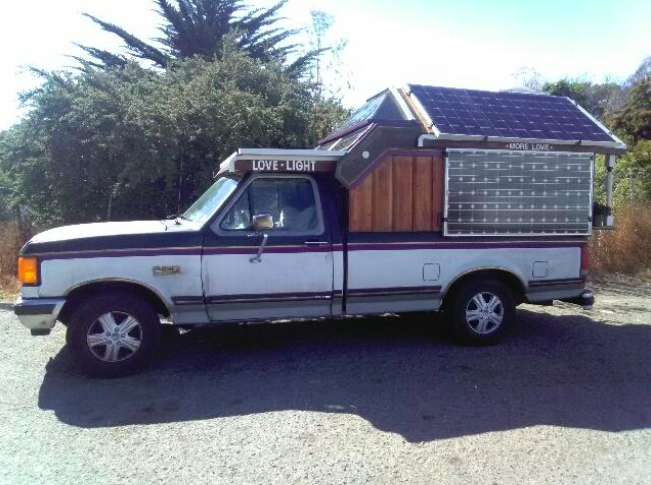 Billy's multi-purpose tinyhouse. This solar powered rig doubles as a mobile working shop too.