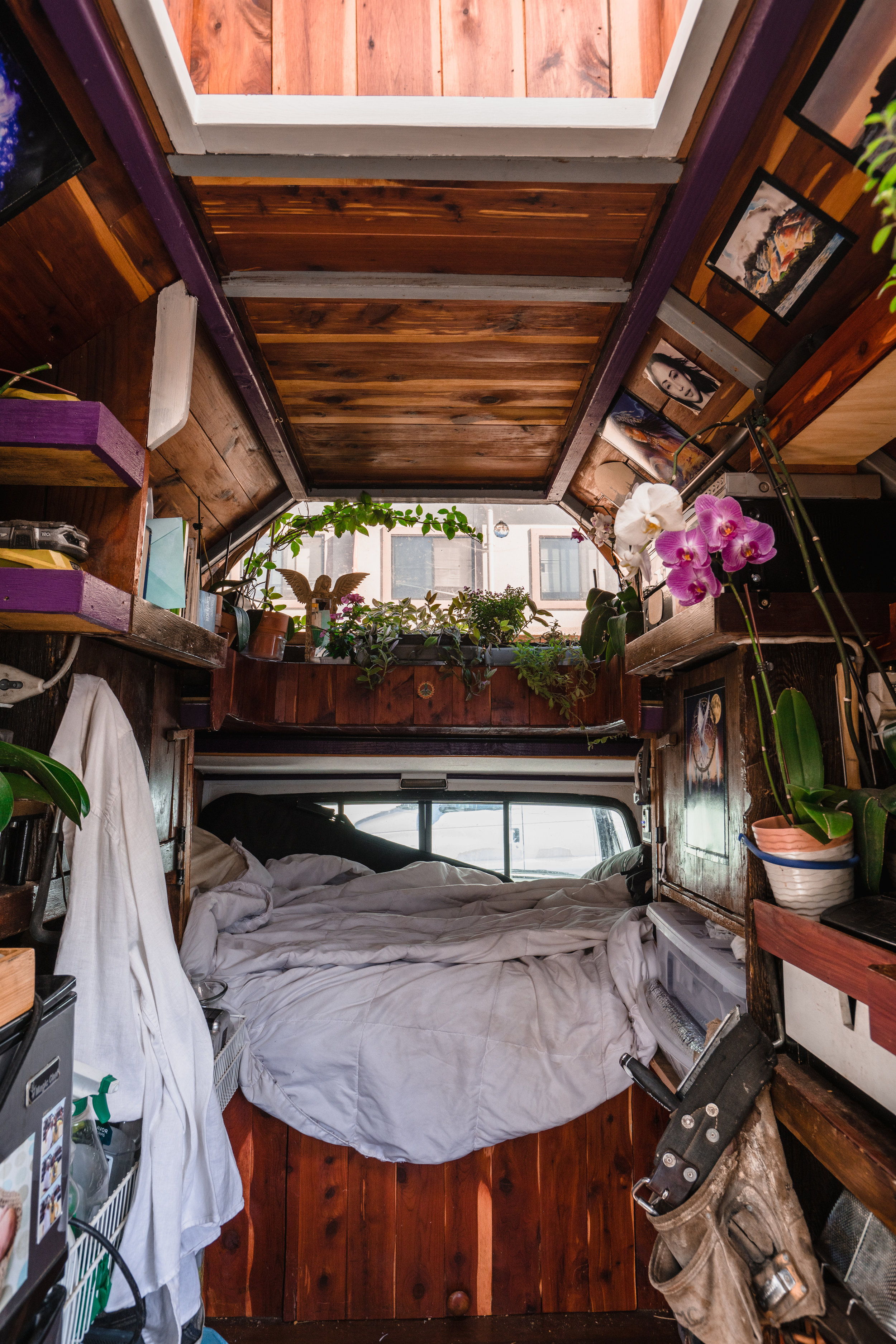The inside of Billy's beautiful plant-filled bus!