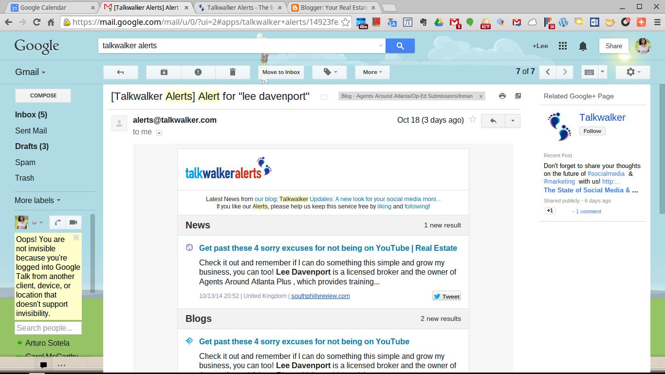 (Example of Talkwalker Alerts in my inbox.)