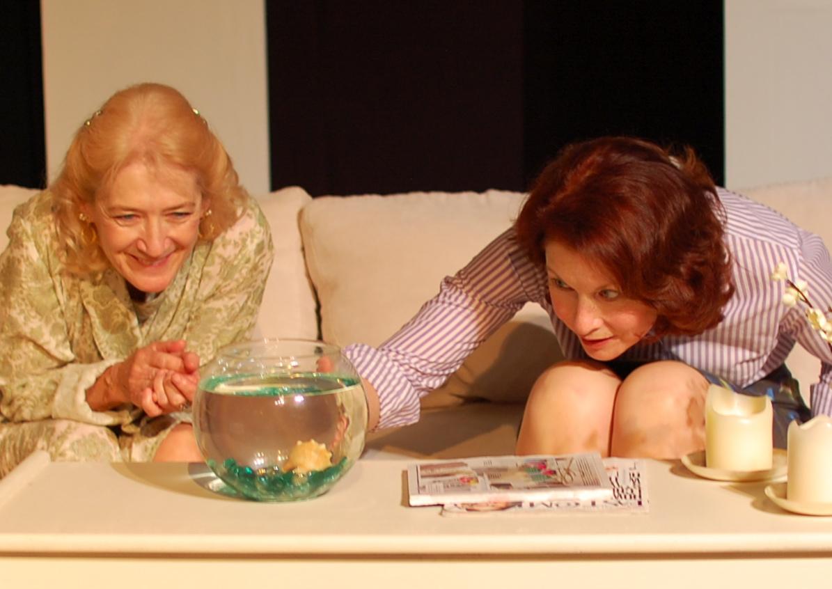 Ana and Lane study the fish