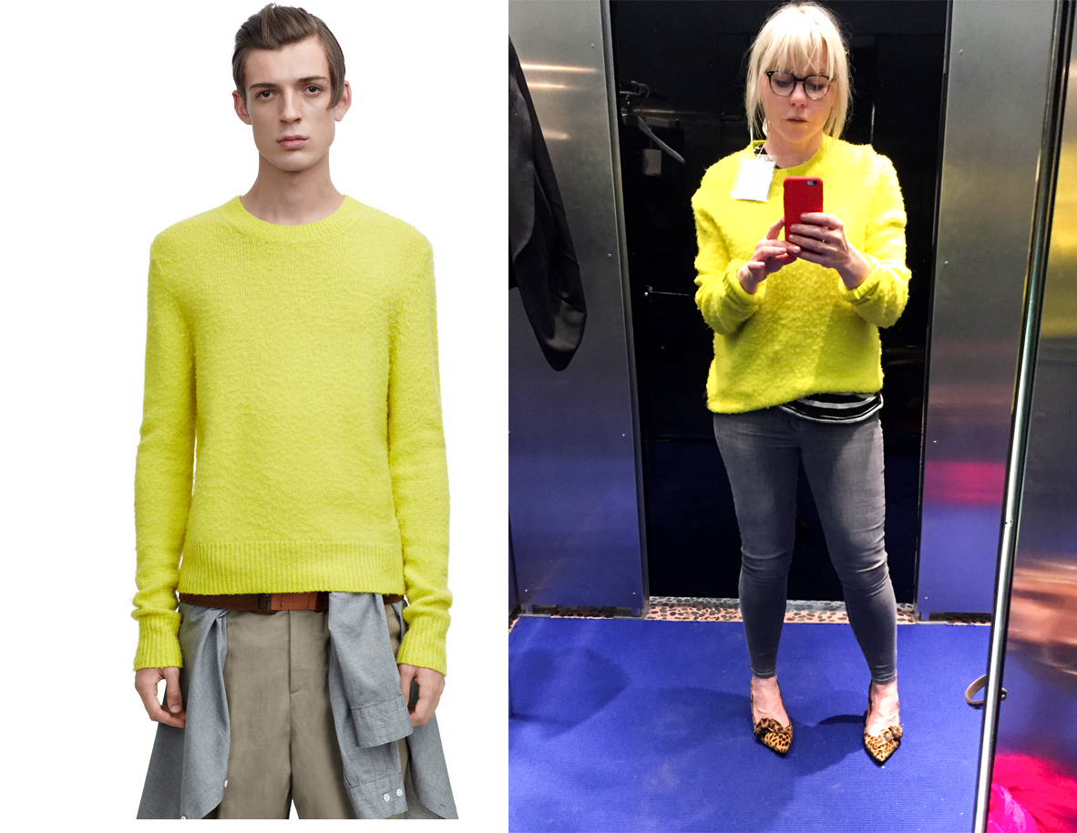 Who wore it better? The way-younger male model versus me in the dressing room at downtown LA Acne store?