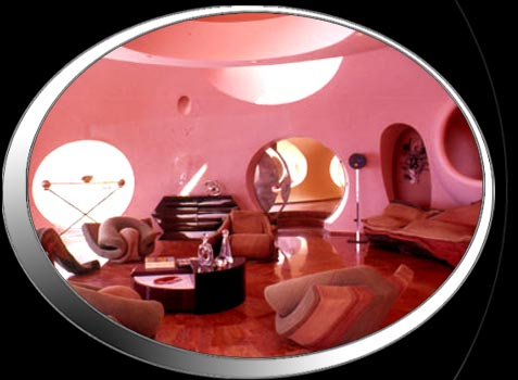 Fashion designer Pierre Cardin built a WHOLE house using round bubbles motifs (with the help of architect  Antii Lovag ). Go and look at all the pics....your head will spin!