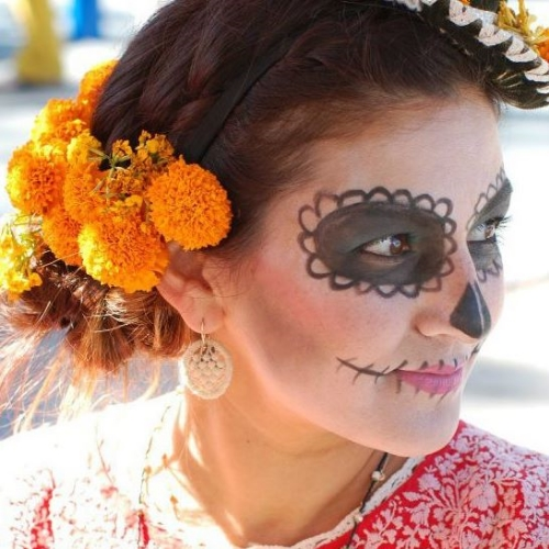 """Look at my fab friend Tootie in traditional """"calavero"""" makeup. She also owns an equally fab store called  Reform School  at Sunset Junction in Silver Lake."""