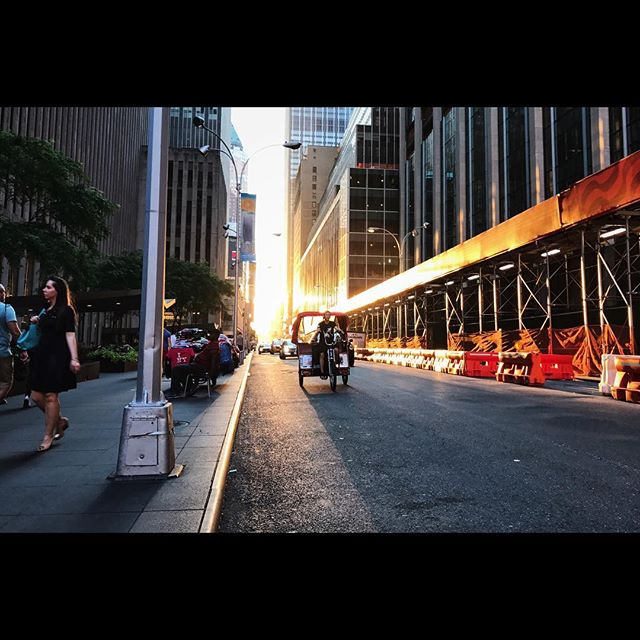 Rushing along when, rounding a corner, I met a sunset that set the gritty streets of midtown Manhattan on fire