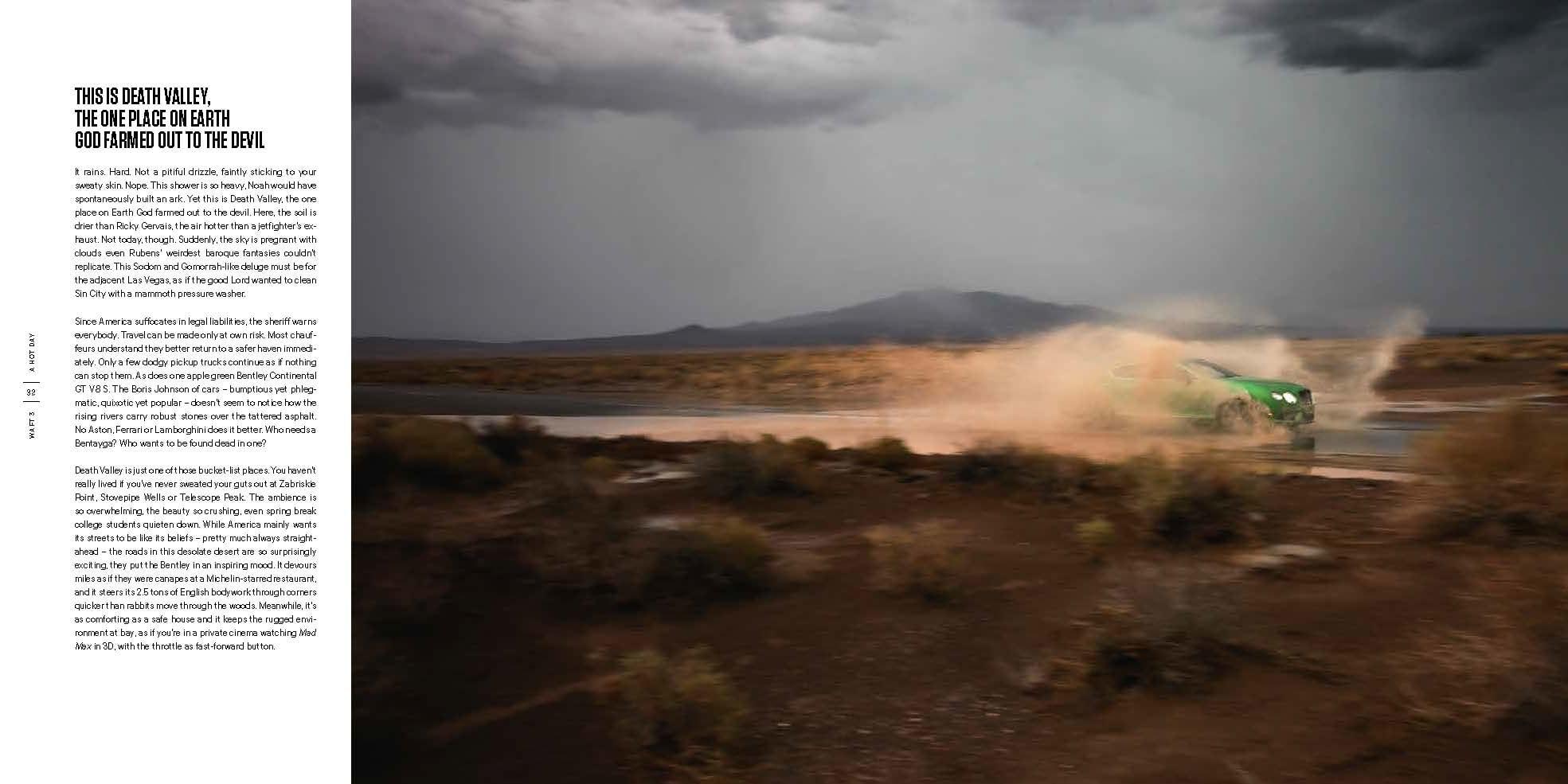 A Bentley splashes its way through some rough Death Valley weather.