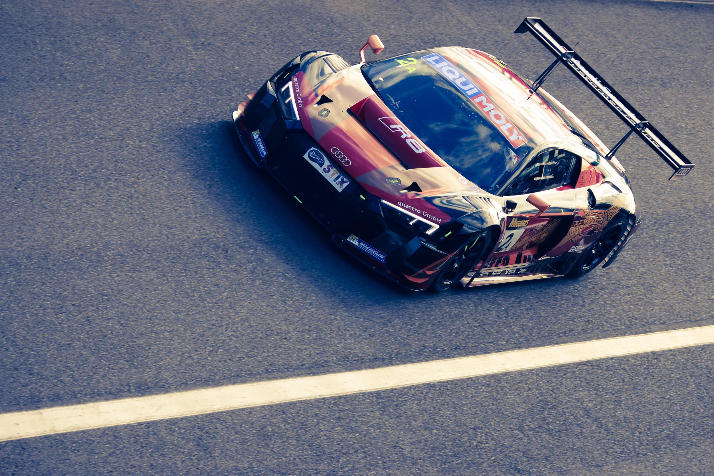 The Phoenix Audi R8 driven by Laurens Vnthoor, Markus Winkelhock, and Will Davison.