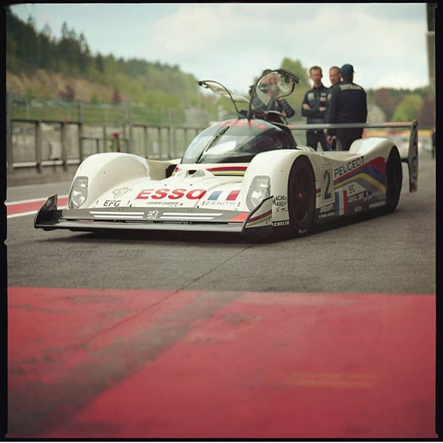 The Peugeot 905, one of the most iconic winners of Le Mans.  Shot by @peter.moons  #Peugeot #905 #GroupC #LeMans #LM #Peugeot905 #905evo1b #SpaFrancorchamps #Classic #Vintage #hasselblad #zeiss #mediumformat #filmisnotdead #BenzinGarage #BenzinandCo #ClassicRacing