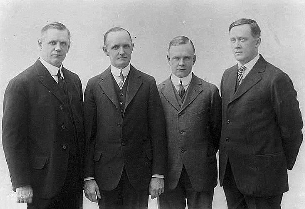 Founders of Harley Davidson in 1920 from left to right: William A. Davidson, Walter Davidson Sr., Arthur Davidson, and William S. Harley.