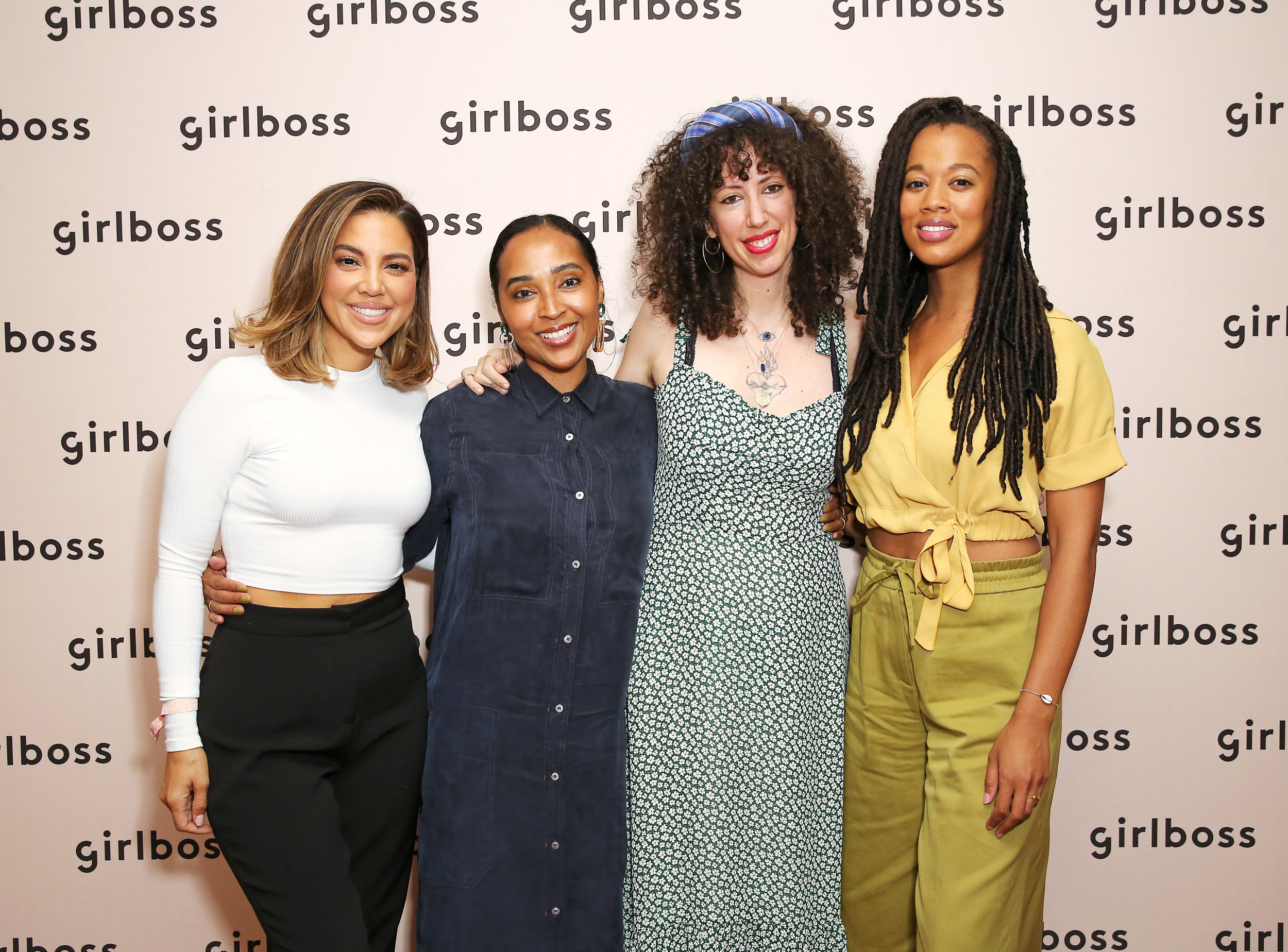 Girlboss Rally, UCLA, Los Angeles | L to R: Liz Hernandez, Lalah Delia, Jerico Mandybur, Lauren Ash | Photo Credit: Rachel Murray, Getty Images
