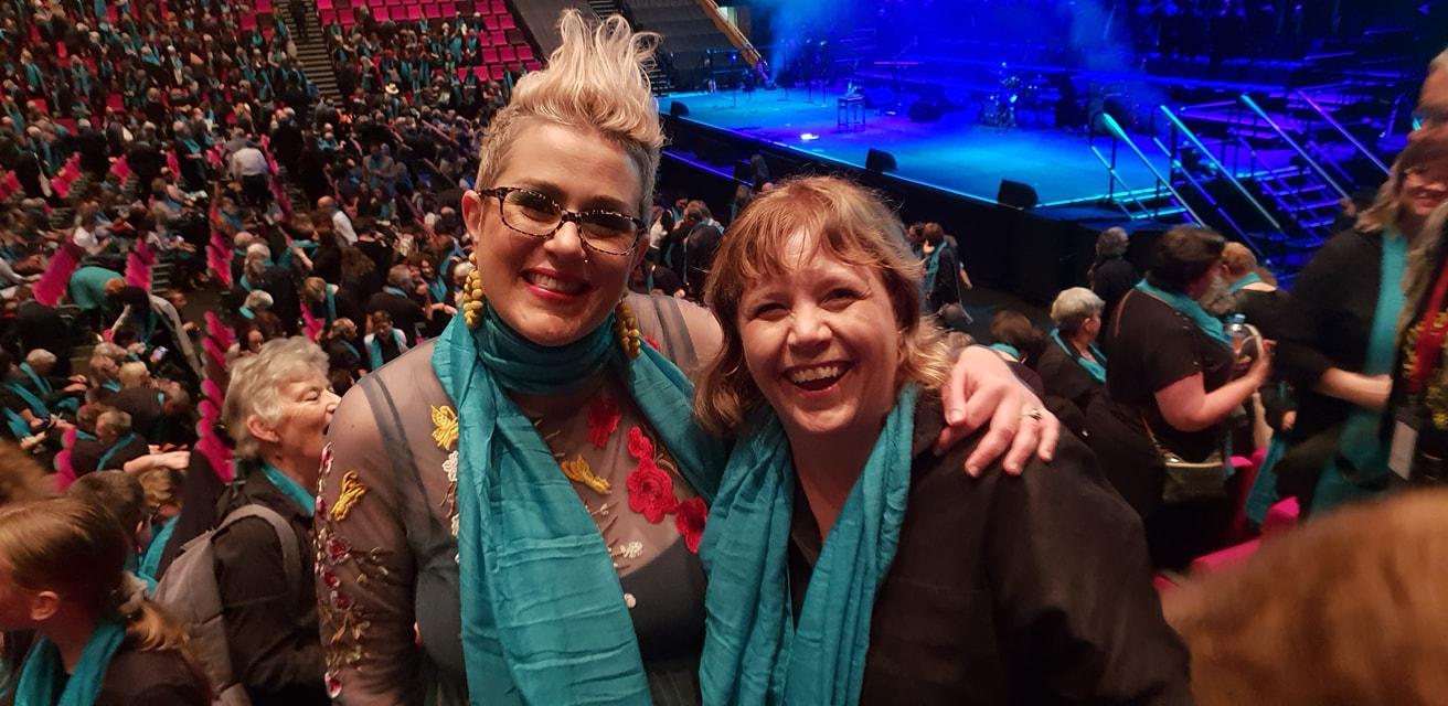 AMWChoir Adelaide Coordinator, Krista, with Katie Noonan.