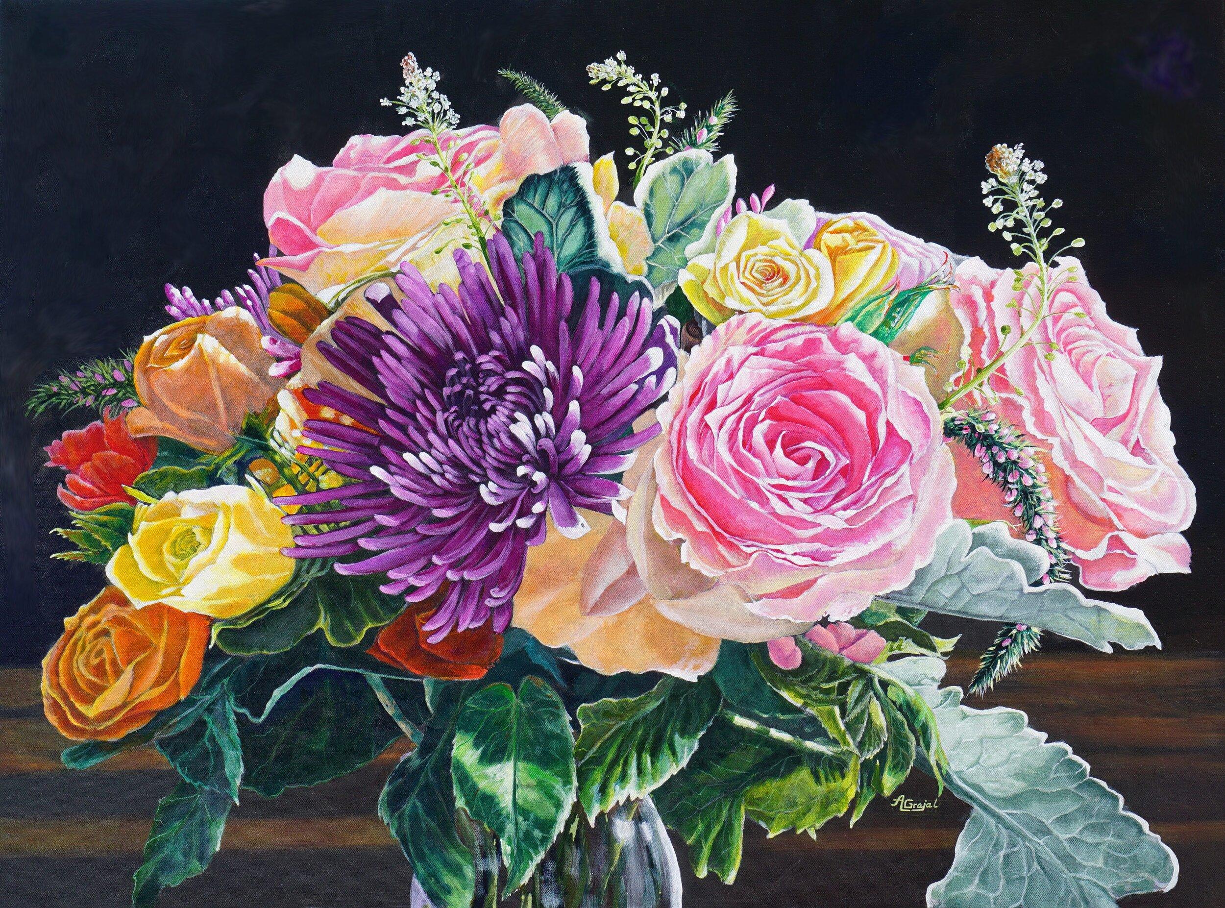 """Roses Dutch Style"" Acrylic on canvas 48"" x 36"". Giclee available on demand"