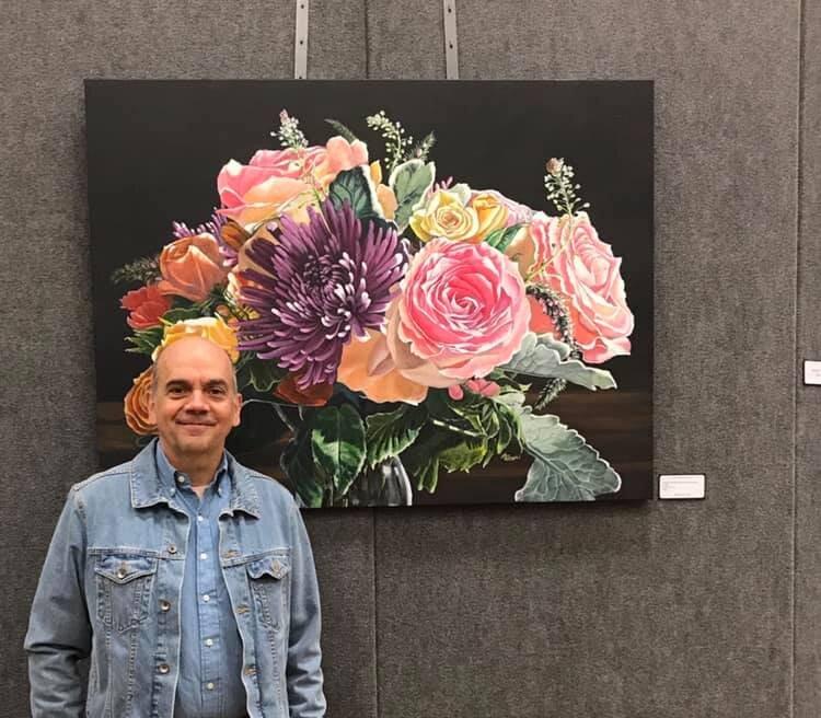 Proud artist at the Edmods International Art Festival, Edmonds, Washington State, June 2019