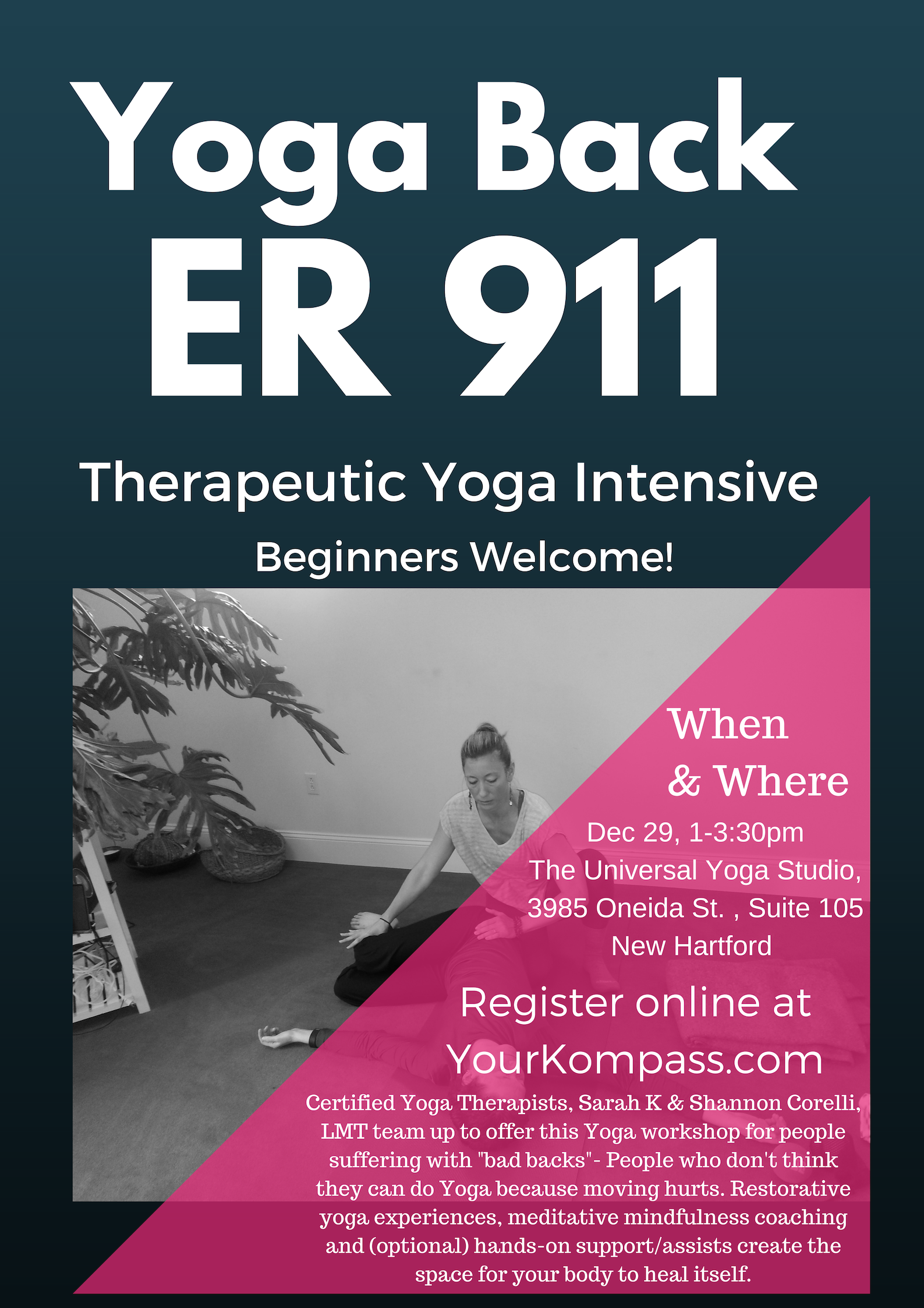 Yoga & Massage - It's a brilliant partnership and an excellent class experience with Sarah and LMT, Shannon Corelli. The class will fill, so reserve your spot now! $45.