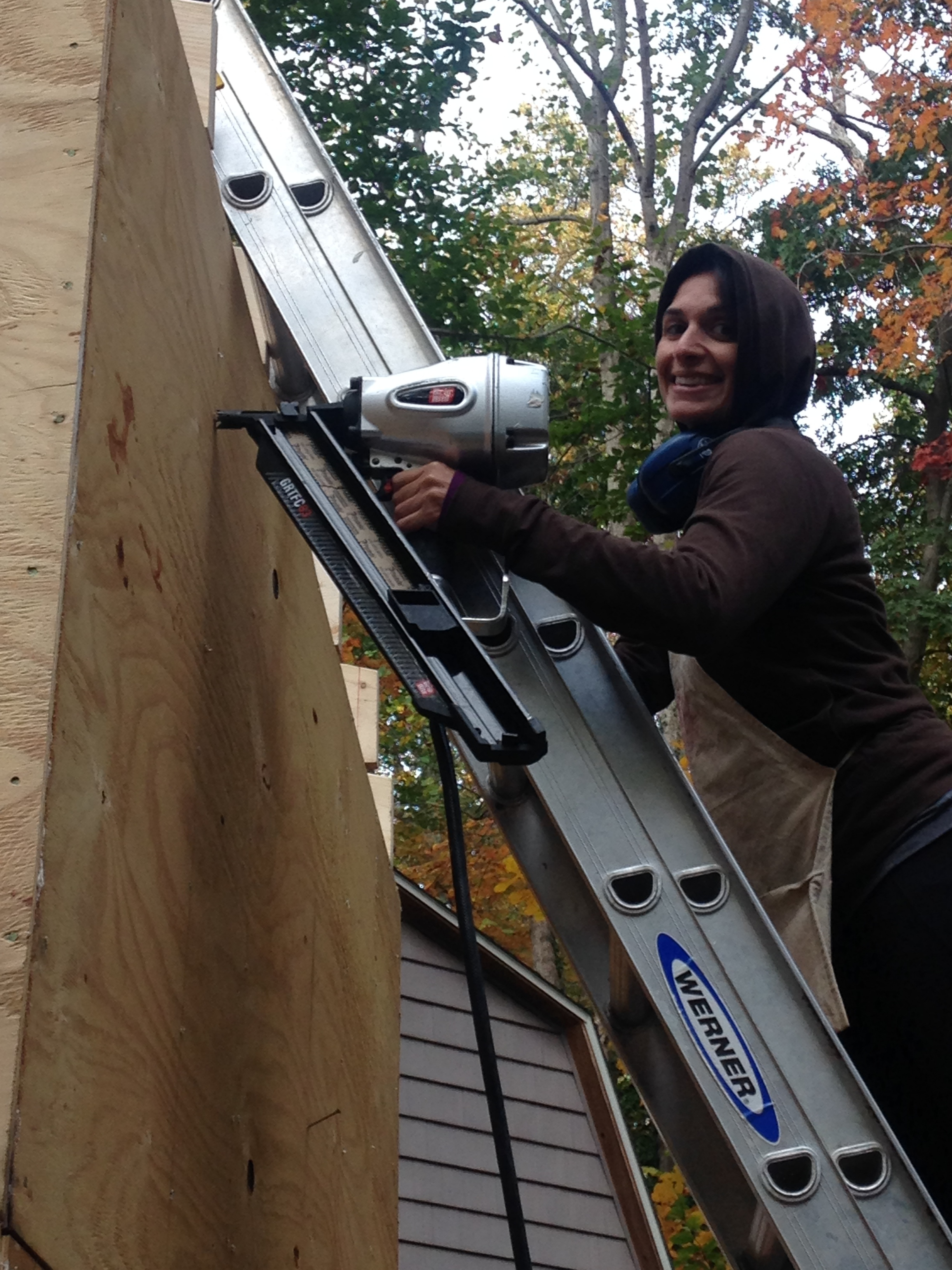 Michelle the badass. but ok the nail gun is scary. it just is. we are not gun people.
