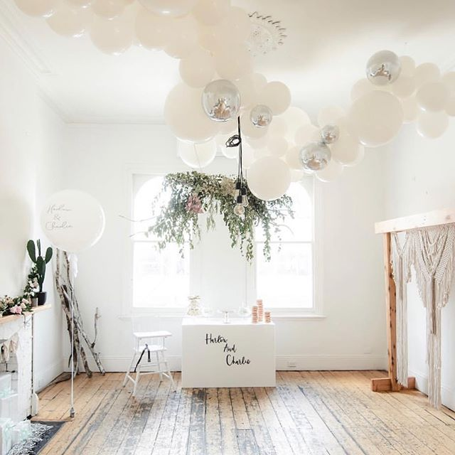 White on white for little Harlow & Charlie at the gorgeous @luckypennychapel #eventsmelbourme #balloonideas #whiteparty