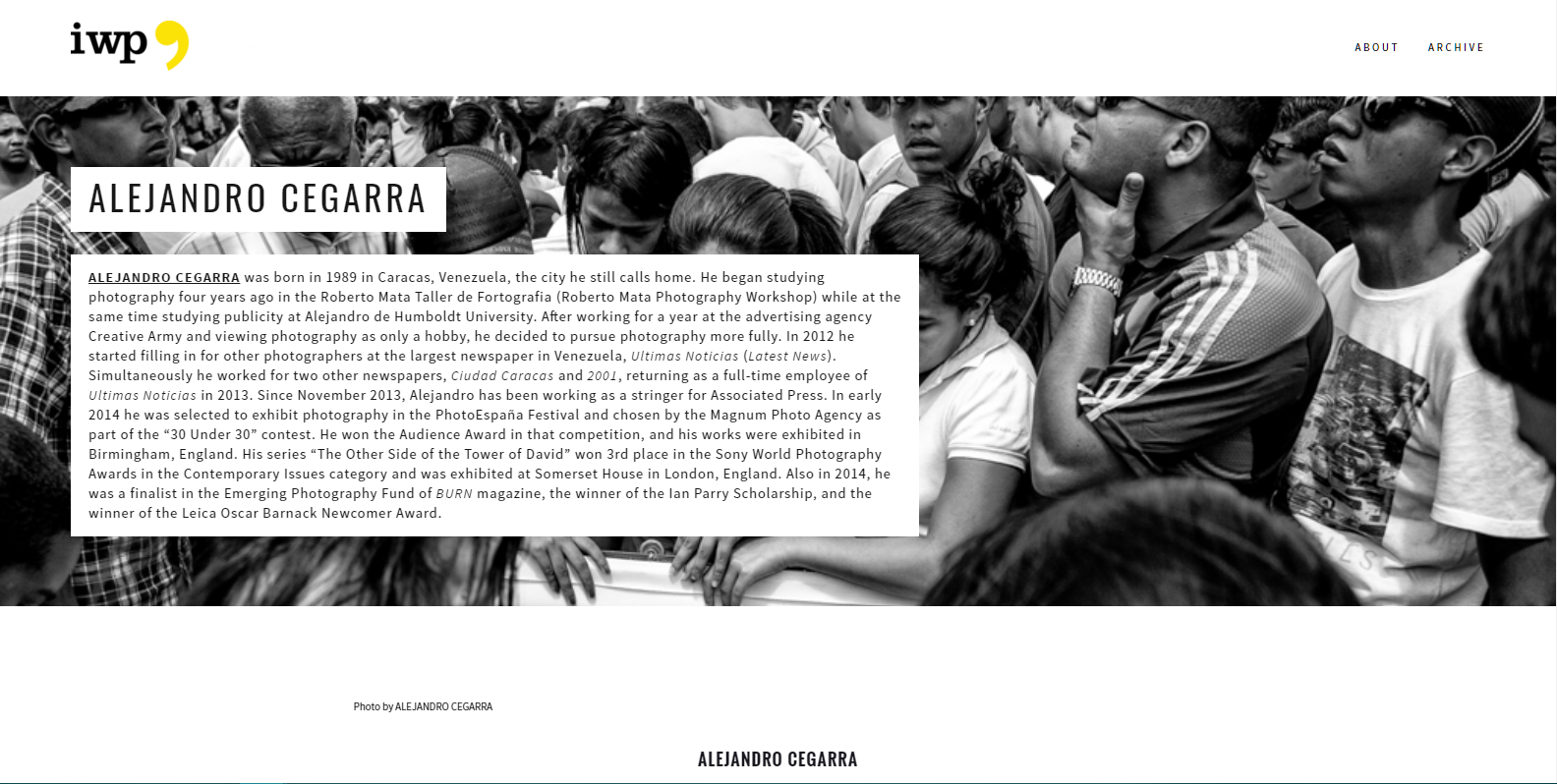 "In this case, this contributor's page was designed to include photos from his photo essay, ""Violence in Venezuela."""