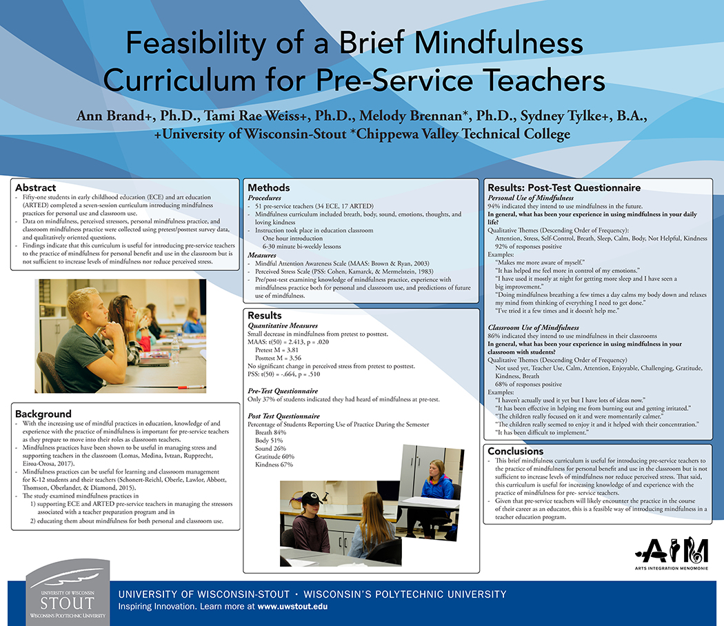 Poster presentation from Mindfulness research. (March 2018) (click to enlarge).
