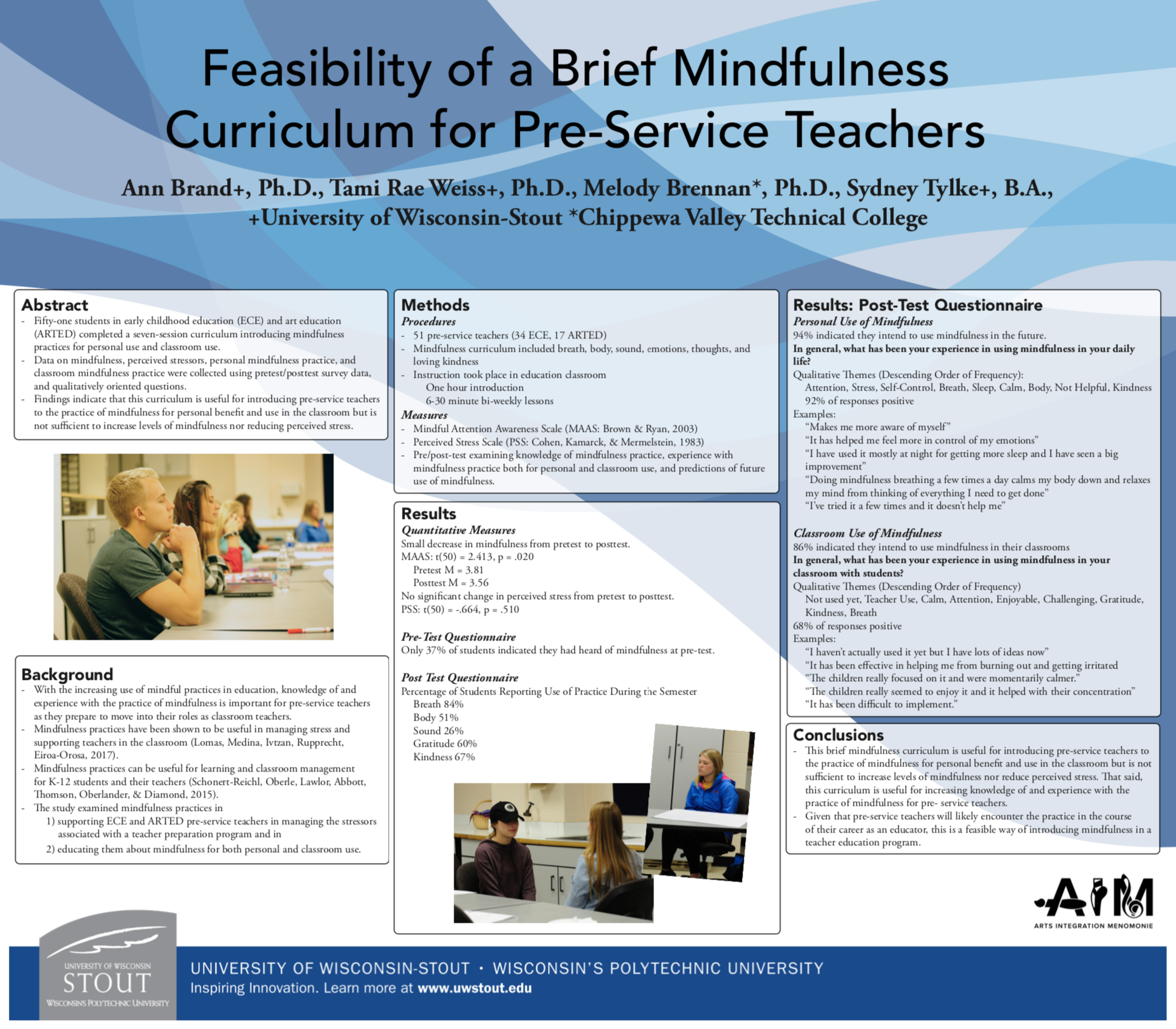 Brand, A. E., Weiss, T., … (March, 2018).  Feasibility of a brief mindfulness curriculum for pre-service teachers in art education and early childhood education.   Poster presented at The Contemplative Practices for 21st Century Higher Education conference, Chapel Hill, NC, United States.