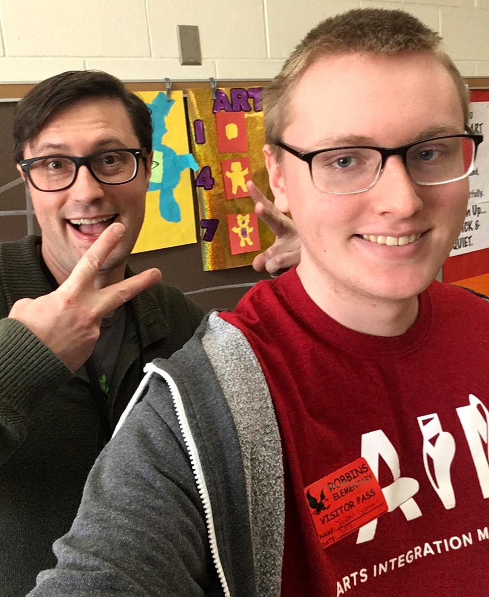 Left: Mr. Jonathan Wheeler,  Elementary Art Teacher  Right: Jackson Gardner,  pre-PAINT intern, Art Education