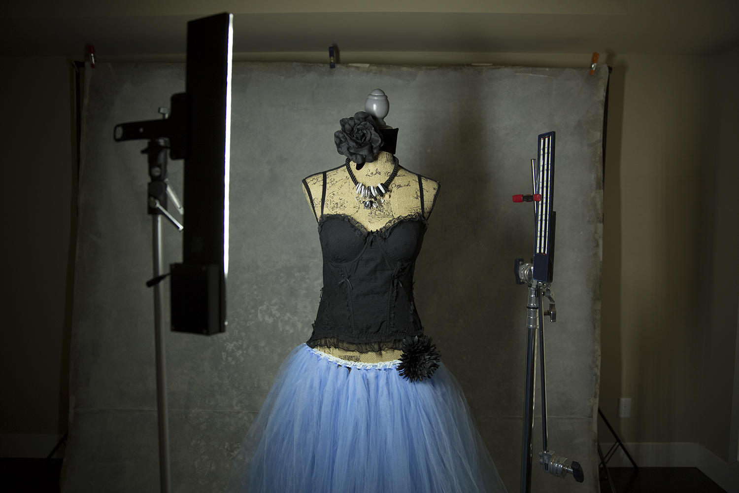 Teaming up simple corset's with tulle skirts is pretty common. It is also pretty easy. Pairing with costume jewelry and accessories can make your client feel like a Queen, which is what we all want.